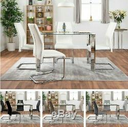LUCIA Chrome 4 Seater Rectangle Dining Table Set And 4 Faux Leather Chairs