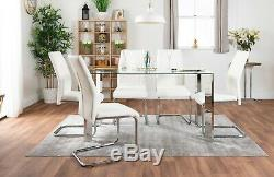 LUCIA Chrome 6 Seater Rectangle Dining Table Set And 6 Faux Leather Chairs