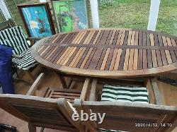 Land of leather Garden set Table, 4 chairs and Umbrella