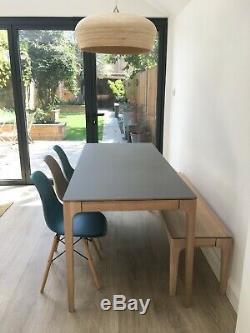 Large 6-8 Seater Dining Table, Bench and Chairs Oak Grey Modern Nearly New