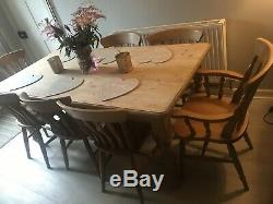 Large 6ft Farmhouse Dining Table And 8 Country Kitchen Chairs Vintage