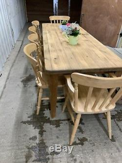 Large 8 Ft Farmhouse Dining Table 6 Country Chairs And Oak Bench Rustic Seats 10