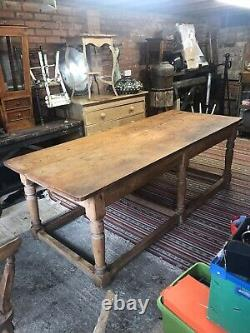 Large Antique French Farmhouse Table And Chairs
