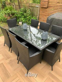 Large Dining Table Set Garden Patio Furniture Rattan 8 Seater Chairs And Cushion