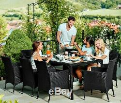 Large Garden Dining Table Rattan Patio Set 8 Seater Furniture Chairs And Cushion