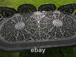 Large Garden Furniture Set Table And 6 Chairs Cast Aluminium