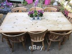 Large Solid Wood Farmhouse Dining Table And 8 Chairs Country 6ft Rustic