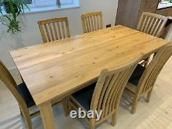 Large solid oak dining table and 6 recovered grey chairs, excellent quality