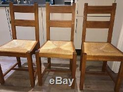 Laura Ashley solid oak table with 3 matching chairs and refectory bench