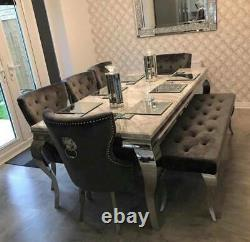Louis 120cm Grey Marble Dining Table + 4 Grey Lion Knocker Chairs + 110cm Bench