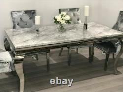 Louis Grey Marble 120CM Dining Table + Light Grey Chrome Knocker Velvet Chairs