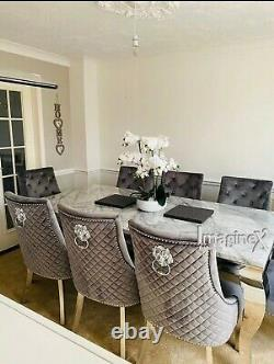 Louis Grey Marble 150CM Dining Table + Grey Lion Knocker Velvet Dining Chairs