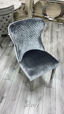 Louis Grey Marble 150CM Dining Table + Valente Grey Lion Knocker Velvet Chairs