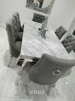 Louis White Marble 150CM Dining Table + Light Grey Chrome Knocker Velvet Chairs