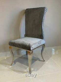 Louis White Marble Dining Table Chrome Legs and Lucy Grey Brushed Velvet Chair