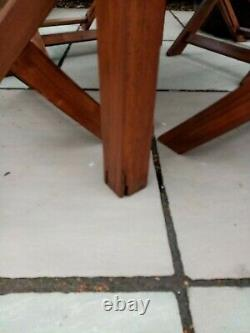 Lovely Heavy Square Wooden garden table and 4 Folding Chairs