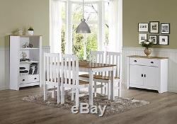 Ludlow Contrasting Oak Pine and White Dining Set with 4 Chairs