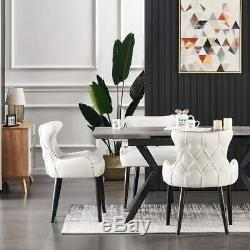 Luxury Dining Table Set Extendable Velvet Chairs Dining Table Set 4 and 6 Seater
