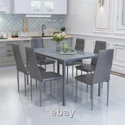 Luxury Grey Dining Table Set & 6 PU Padded Chairs Dinning Living Room Furniture