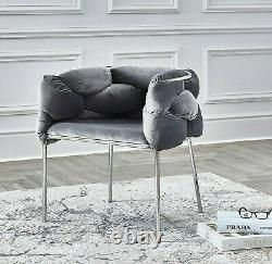 Luxury Light Grey Woven Velvet Dining & Dressing Table Accent Chrome TUB Chairs