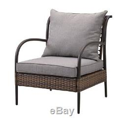 Luxury Rattan Garden Furniture Patio Set 4 pc Set Chairs Table and Sofa Brown
