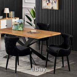 Luxury White Dining Table Set Velvet Chairs Dining Table Set 4 and 6 Seater