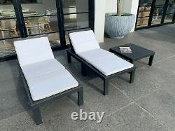 MOLOK GREY 4 SEATER GARDEN CORNER CHAIRS MODULAR SET With TABLE AND CUSHIONS