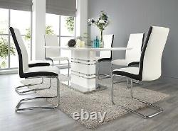 Merano High gloss and Chrome Dining Table Set and 6 Leather Chairs Seat