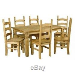 Mercers Furniture Corona Mexican Pine Large Extending Dining Table and 6 Chairs