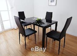 Merry Black Dining Table and with 4 Chairs, Small 105 cm Table & 4 Chairs Sets