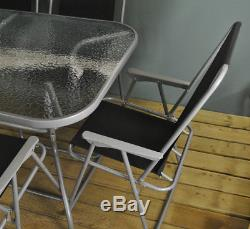 Metal Garden Patio Furniture Table and Chair Set with Folding Chairs (8 Piece)