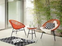 Mid Century Modern Garden Bistro Set Table and Chairs 3 Piece Orange Acapulco