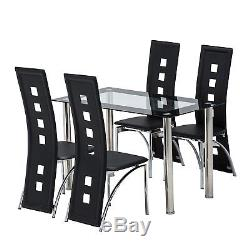 Midnight Glass Dining Table With 4 Or 6 Black Chairs Dining Room Furniture