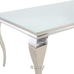 Mirrored Dining Table with 6 Chairs in Grey Velvet Jade Bouti BUN/ANE003/76676