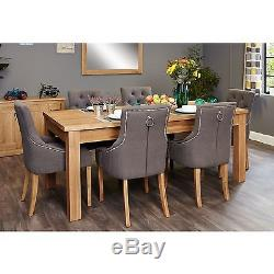 Mobel solid oak furniture extending dining table and six luxury chairs set