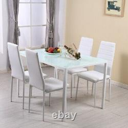 Modern 4 Seater Glass Dining Table and 4 Padded Chairs Set White Home Furniture