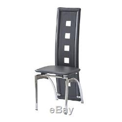 Modern Black Glass Dining Room Table and 4 Chairs Set for Kitchen Furniture