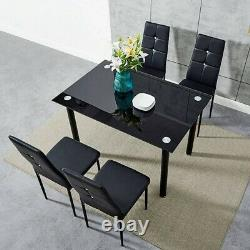 Modern Black Glass Dining Table and 4 Padded Chairs Set Home Kitchen Furniture N