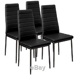 Modern Black V Glass Dining Table Set and 4 Faux Leather Dining Chairs Kitchen