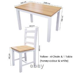 Modern Breakfast Bar Dining Table and 4 Chairs Solid Wood Set Kitchen Garden NEW