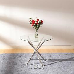 Modern Clear Round Glass Dining Table Set and High Back Chairs 2-4 Seater Bistro