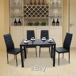 Modern Dining Set with Glass Table and 4 Chairs Kitchen Home Bistro Furniture