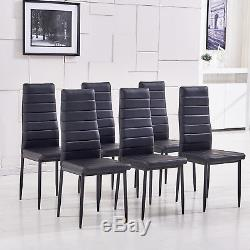 Modern Dining Set with Table and 6 Chairs Black Kitchen Diningroom Furniture Set