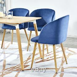 Modern Dining Table Set and 4PCS Retro Velvet Fabric Accent Chairs Living Room