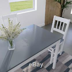 Modern Dining Table and 4 Chairs Set Kitchen Solid Wooden Furniture Home Grey