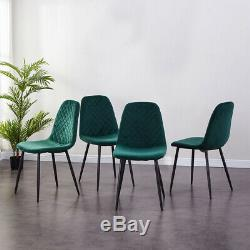 Modern Dining Table and 4 Chairs Set Velvet Padded Seat Kitchen Dining Room Home