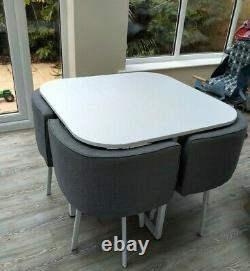 Modern Dining Table and 4 Chairs Space Saver Dining Set White & Grey Home Cafe