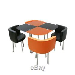Modern Glass Dining Table and 4 Chairs Set Space Saver Kitchen Dining Room Cafe