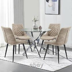 Modern Glass Round Dining Table and 4 Chairs Set Faux Suede Living Room Kitchen