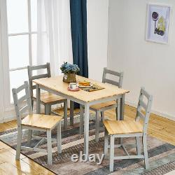 Modern Grey Solid Wooden Dining Table and 4 Chairs Set Dining Room Furniture New